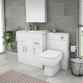 Turin 1300mm Gloss White Vanity Unit Bathroom Suite - Depth 400/200mm