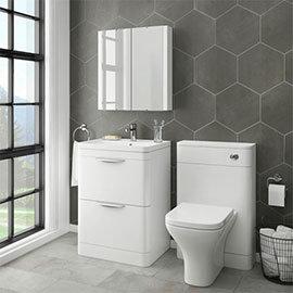 Monza Modern White Sink Vanity Unit + Toilet Package