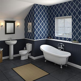 Melbourne Traditional Roll Top Slipper Bath Suite - 1550mm