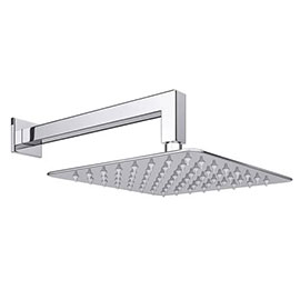 Milan Ultra Thin Square Shower Head with Wall Mounted Arm - 200x200mm