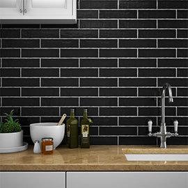 Mileto Black Gloss Ceramic Wall Tile - 75 x 300mm