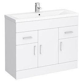 Toreno Basin Unit - 1000mm Modern High Gloss White with Mid Edged Basin