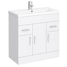 Toreno Basin Unit - 800mm Modern High Gloss White with Mid Edged Basin