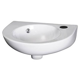 Nuie - Round 450mm Wall Hung Cloakroom Basin - 1 Tap Hole - NCU942