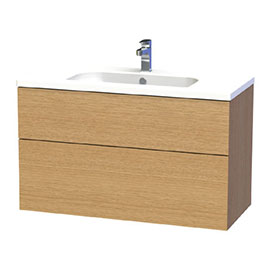 Miller - New York 100 Wall Hung Two Drawer Vanity Unit with Ceramic Basin - Oak