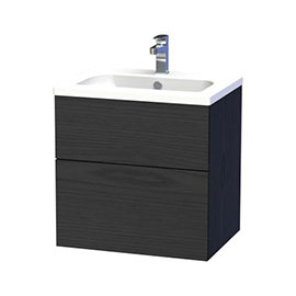 Miller - New York 60 Wall Hung Two Drawer Vanity Unit with Ceramic Basin - Black