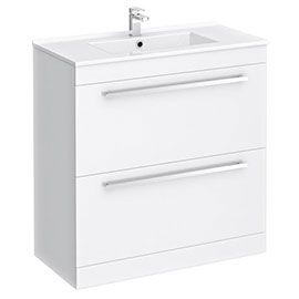 Nova 800mm Vanity Sink With Cabinet - Modern High Gloss White