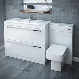 Nova High Gloss White Vanity Bathroom Suite - W1500 x D400/200mm