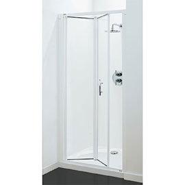 Coram - Optima Bi-Fold Shower Door - White - Various Size Options