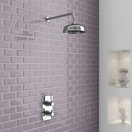 """Nuie Edwardian Twin Concealed Thermostatic Shower Valve with 8"""" Apron Fixed Head"""