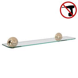 Croydex Grosvenor Flexi-Fix Glass Shelf - Gold - QM701403