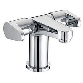 Bristan - Quest Contemporary 2 Handled Basin Mixer w/ Clicker Waste - Chrome - QST-BAS2-C