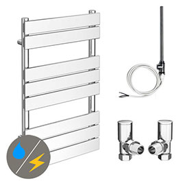 Milan 490 x 800mm Heated Towel Rail (Inc. Valves + Electric Heating Kit)