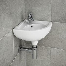 RAK Compact Corner Basin - 1 or 2 Tap Hole Option
