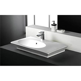 RAK - Opulence 80cm 'Her' Offset counter top basin with porcelain waste - White