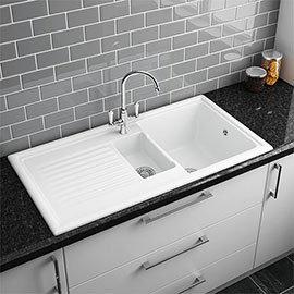 Reginox White Ceramic 1.5 Bowl Kitchen Sink - RL301CW