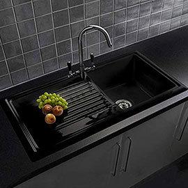 Reginox Traditional Black Ceramic 1.0 Bowl Kitchen Sink
