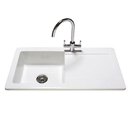 Reginox Contemporary White Ceramic 1.0 Bowl Kitchen Sink - RL504CW