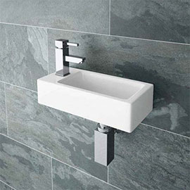 Rondo Wall Hung Small Cloakroom Basin 1TH - 365 x 180mm