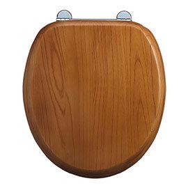 Burlington Bar Hinged Golden Oak Toilet Seat - S11
