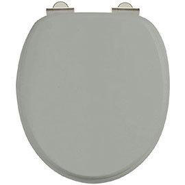 Burlington Soft Close Toilet Seat with Chrome Hinges - Dark Olive