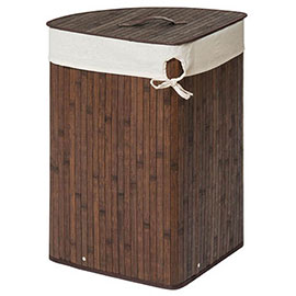 Saroma Corner Bamboo Laundry Hamper - Dark Brown