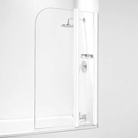 Coram Compact Curved Bath Screen with Side Panel - 800mm Wide - White - SFR802CUW