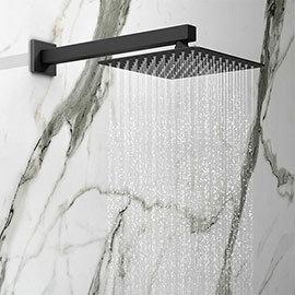 Arezzo Square 200 x 200mm Matt Black Fixed Shower Head + Wall Mounted Arm