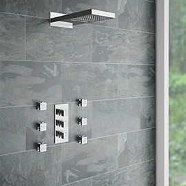 Modern Square Triple Valve with Diverter, Fixed Water Blade Shower Head + 6 Body Jets