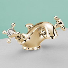 Silverdale Victorian Basin Monobloc Tap with Pop Up Waste Gold