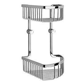 Smedbo Loft - Polished Chrome Double Corner Soap Basket - LK377