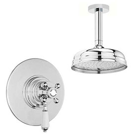 "Lancaster Traditional Dual Concealed Thermostatic Shower Valve + Ceiling Mounted 8"" Rose"