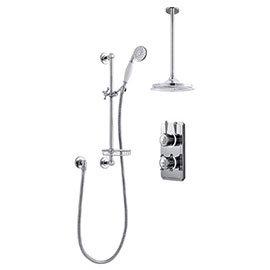 Bathroom Brands Classic 1910 Dual Outlet Digital Shower Set with Ceiling Arm, Slide Bar, Soap Basket + Showerhead - High Pressure