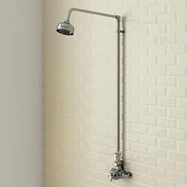 Trafalgar Traditional Twin Exposed Thermostatic Shower Valve + Rigid Riser