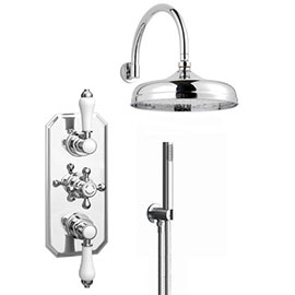 Trafalgar Triple Concealed Shower Valve Inc. Outlet Elbow, Handset & Curved Arm with Fixed Head