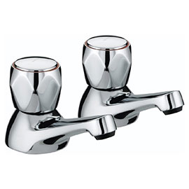 Bristan - Club Bath Taps - Chrome with Metal Heads - VAC-3/4-C-MT