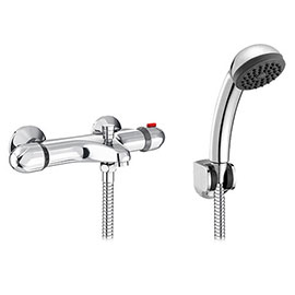 Modern Wall Mounted Thermostatic Bath Shower Mixer Valve + Shower Kit