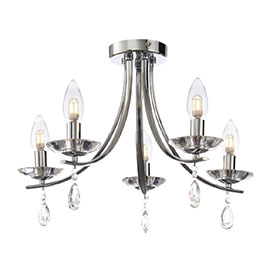 Marquis by Waterford Bandon 5 Light Curved Arm Chandelier Bathroom Ceiling Light