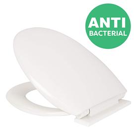 Croydex Anti-Bacterial Polypropylene Toilet Seat with Slow-Close Hinge - White