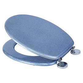 Croydex Flexi-Fix Blue Quartz Effect Anti-Bacterial Toilet Seat - WL601824H