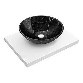 600 x 450mm White Shelf with Round Black Marble Basin