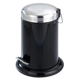 Wenko Retoro 3 Litre Cosmetic Pedal Bin - Stainless Steel - Black - 17902100