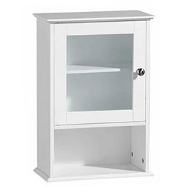 White Wood Wall Cabinet with Single Glass Door - 2402057