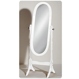 White Wooden Free Standing Full Length Cheval Mirror - 2400159