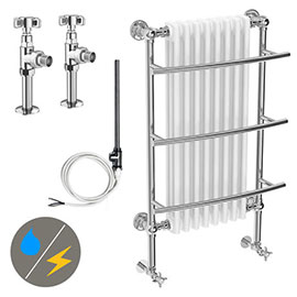 Yale Traditional Wall Hung Towel Rail Radiator (Inc. Valves + Electric Heating Kit)