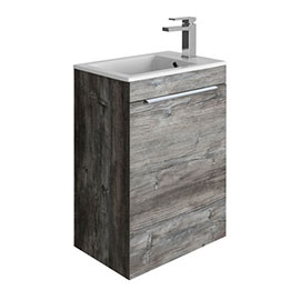 Crosswater Zion Single Door Wall Hung Unit + Basin - Driftwood