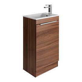 Bauhaus Zion Single Door Floor Standing Unit + Basin - Natural Walnut