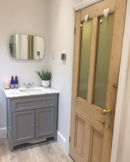 Grey freestanding vanity unit with marble counter top | Rachel's Victorian Bathroom - Worcestershire