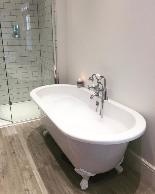The roll top bath with white feet and the bath shower mixer tap | Rachel's Victorian Bathroom - Worcestershire