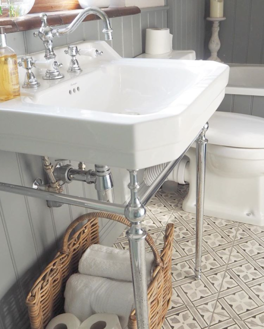 A clever bathroom storage idea | Sally's Traditional Grey Bathroom - Surrey